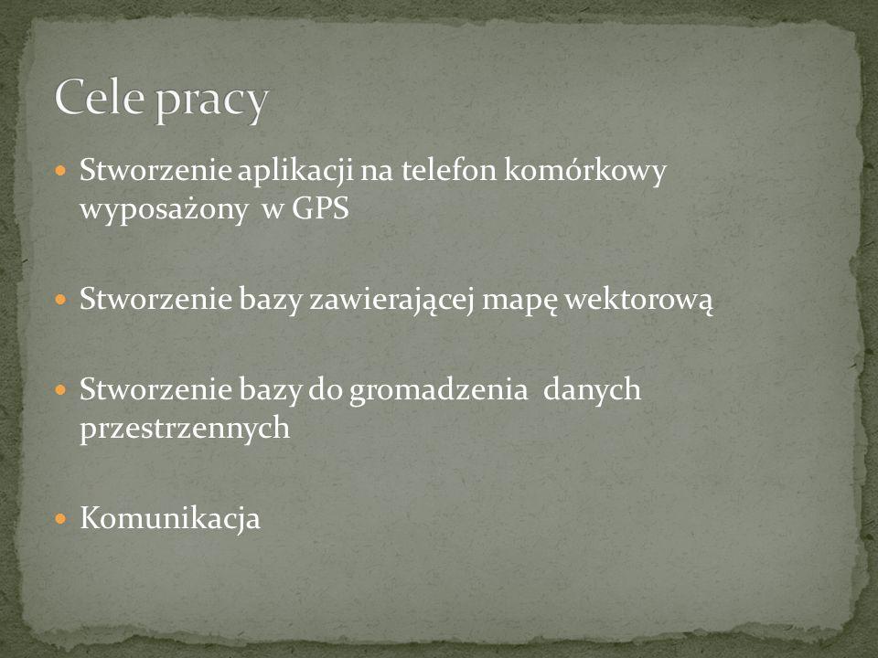 Cele pracy Stworzenie aplikacji na telefon komórkowy wyposażony w GPS