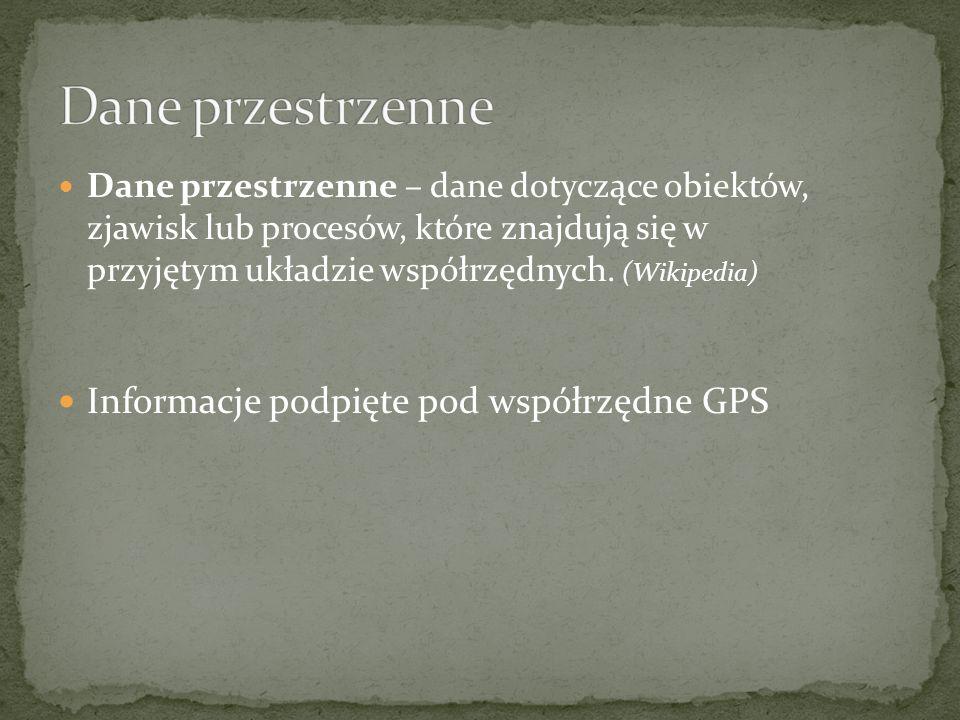 Dane przestrzenne Informacje podpięte pod współrzędne GPS