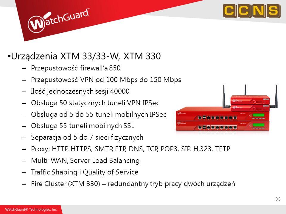 Urządzenia XTM 33/33-W, XTM 330 Przepustowość firewall'a 850