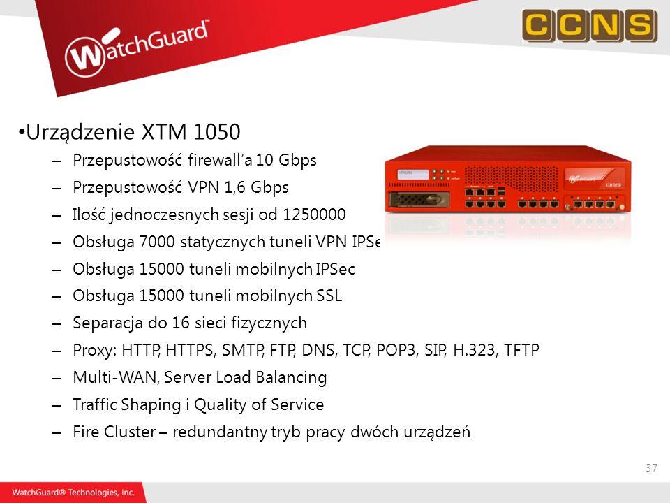 Urządzenie XTM 1050 Przepustowość firewall'a 10 Gbps