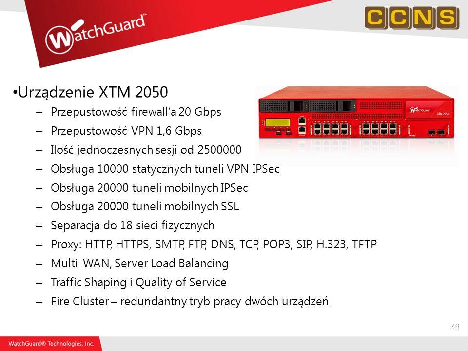 Urządzenie XTM 2050 Przepustowość firewall'a 20 Gbps
