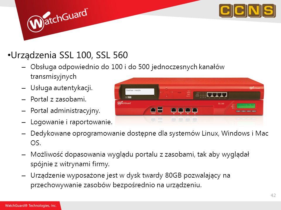 Urządzenia SSL 100, SSL 560 Obsługa odpowiednio do 100 i do 500 jednoczesnych kanałów transmisyjnych.