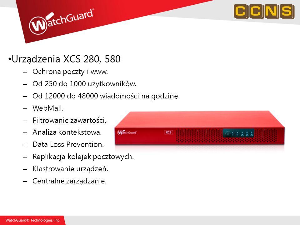 Urządzenia XCS 280, 580 Ochrona poczty i www.
