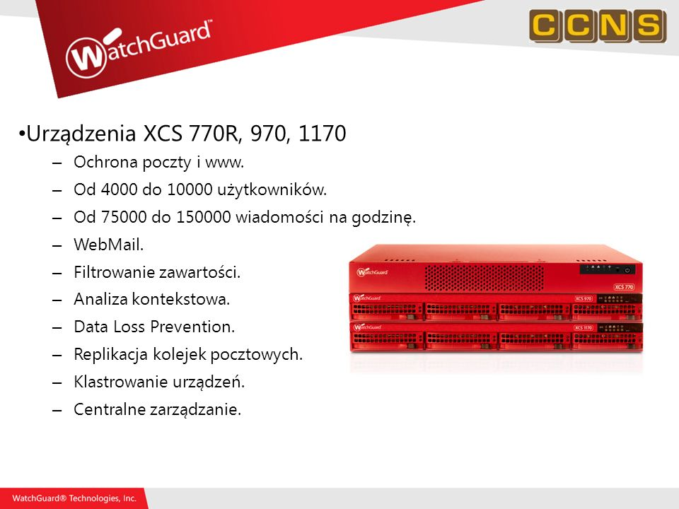 Urządzenia XCS 770R, 970, 1170 Ochrona poczty i www.