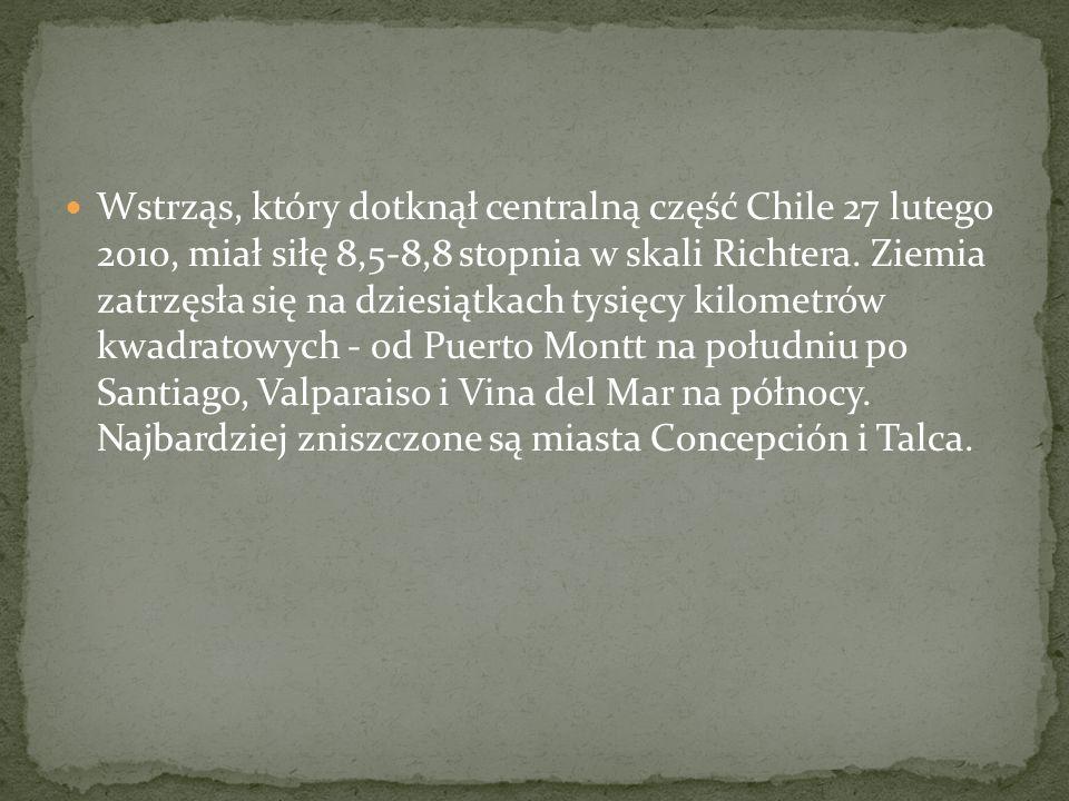 Wstrząs, który dotknął centralną część Chile 27 lutego 2010, miał siłę 8,5-8,8 stopnia w skali Richtera.