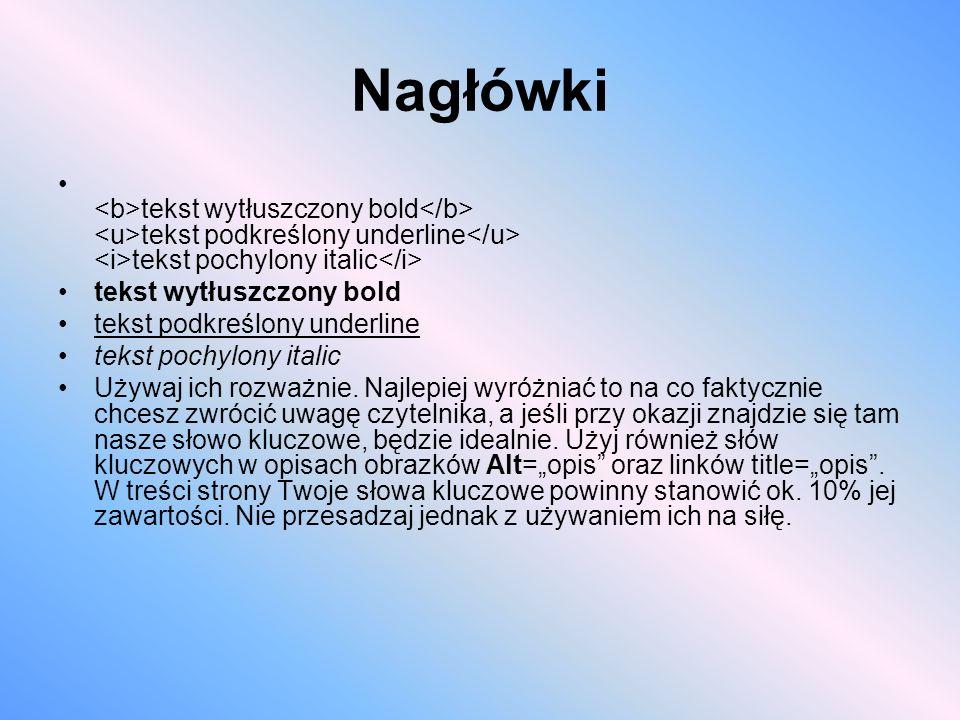 Nagłówki <b>tekst wytłuszczony bold</b> <u>tekst podkreślony underline</u> <i>tekst pochylony italic</i>
