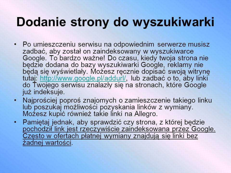 Dodanie strony do wyszukiwarki