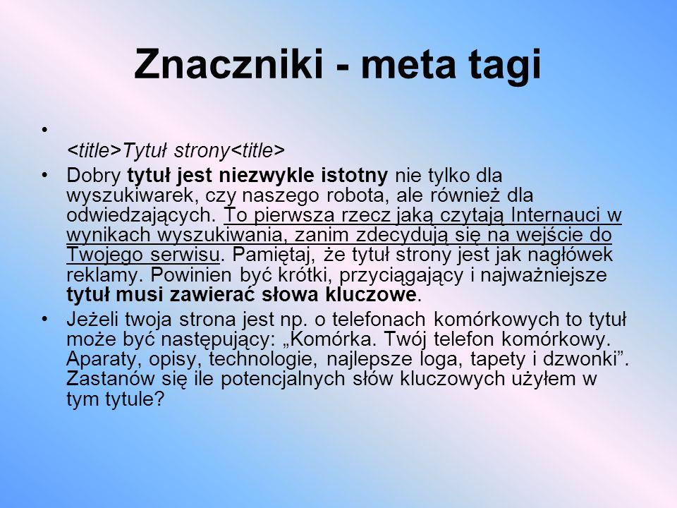 Znaczniki - meta tagi <title>Tytuł strony<title>