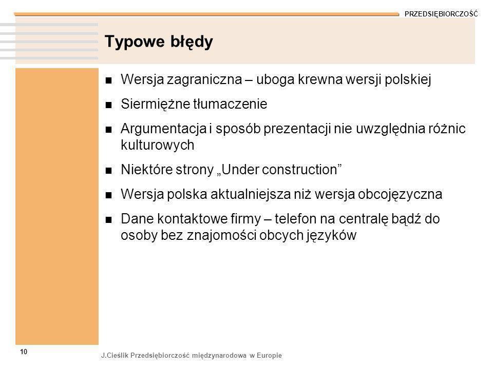 Typowe błędy Wersja zagraniczna – uboga krewna wersji polskiej