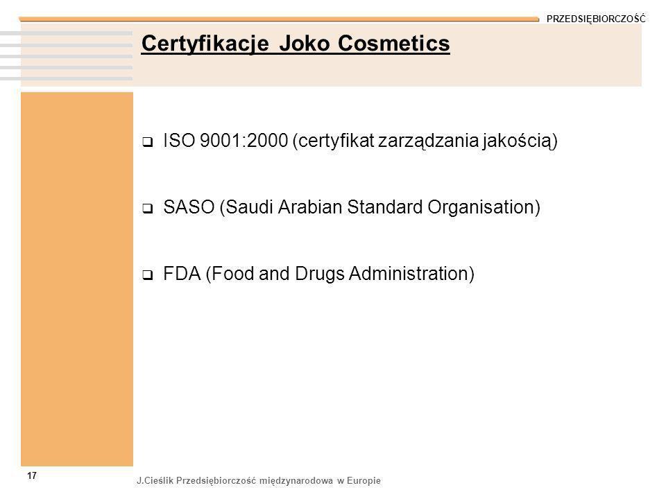 Certyfikacje Joko Cosmetics