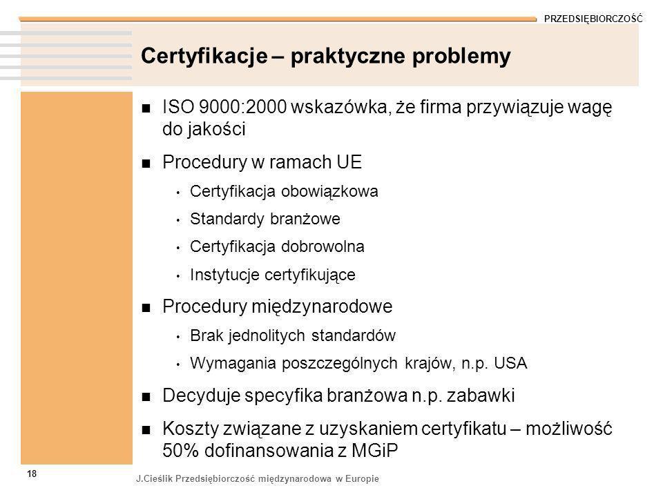Certyfikacje – praktyczne problemy