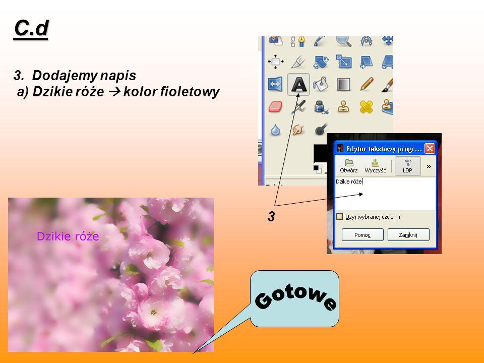 C.d 3. Dodajemy napis a) Dzikie róże  kolor fioletowy 3 Gotowe