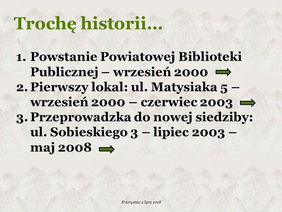 Trochę historii… Powstanie Powiatowej Biblioteki Publicznej – wrzesień 2000. Pierwszy lokal: ul. Matysiaka 5 – wrzesień 2000 – czerwiec 2003.