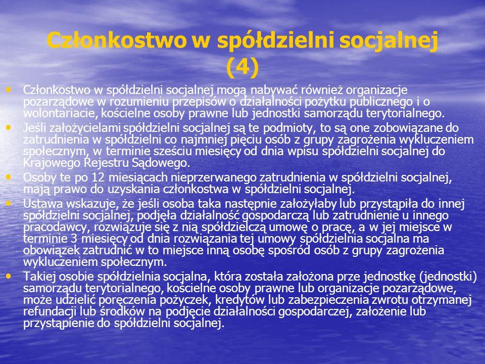 Członkostwo w spółdzielni socjalnej (4)