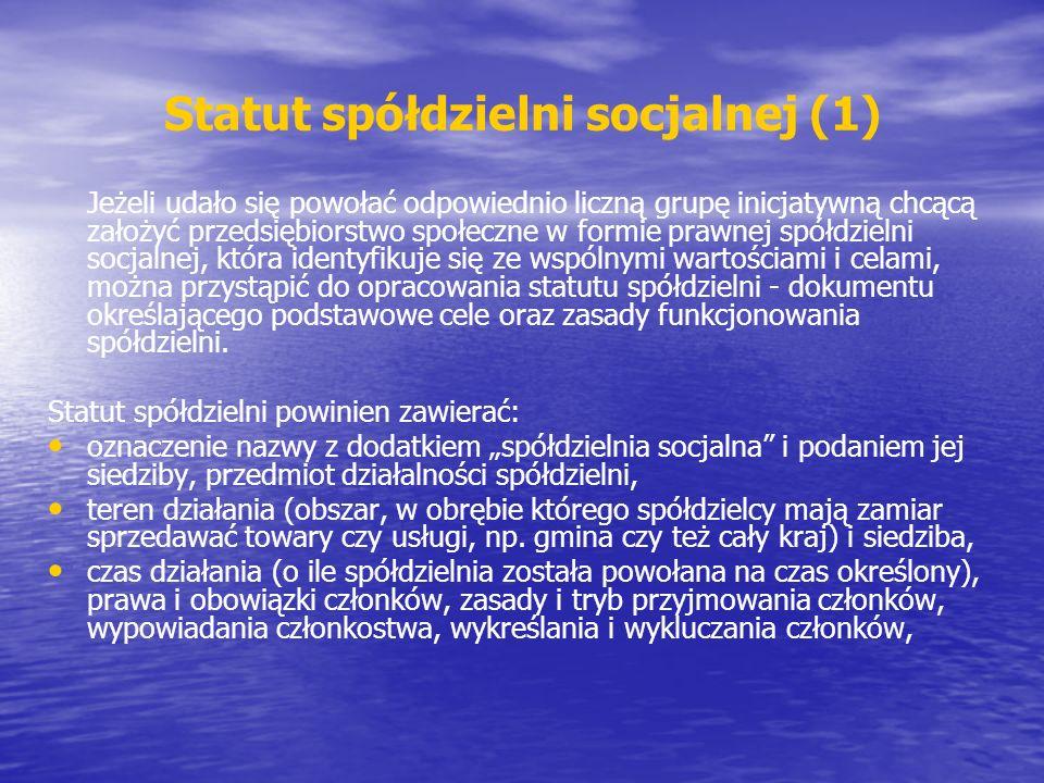 Statut spółdzielni socjalnej (1)
