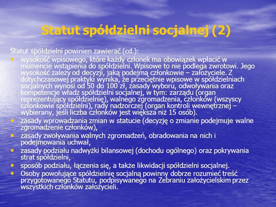 Statut spółdzielni socjalnej (2)