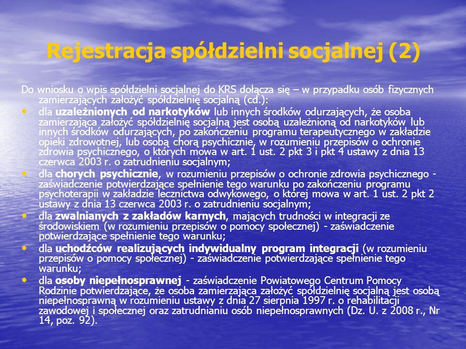 Rejestracja spółdzielni socjalnej (2)