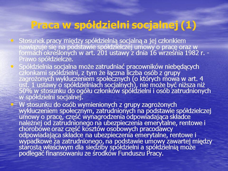 Praca w spółdzielni socjalnej (1)