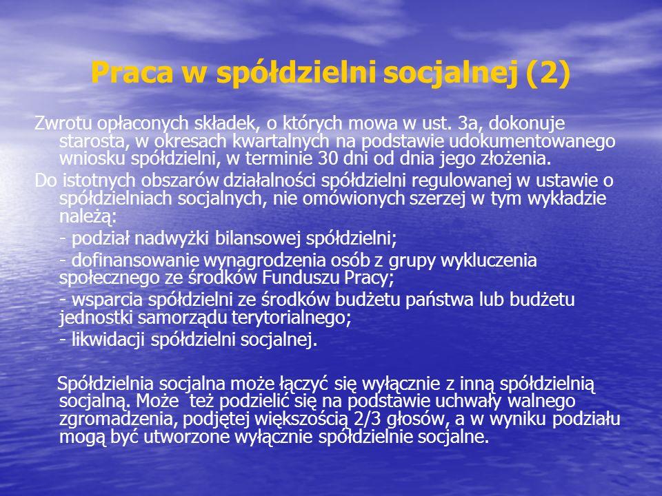 Praca w spółdzielni socjalnej (2)