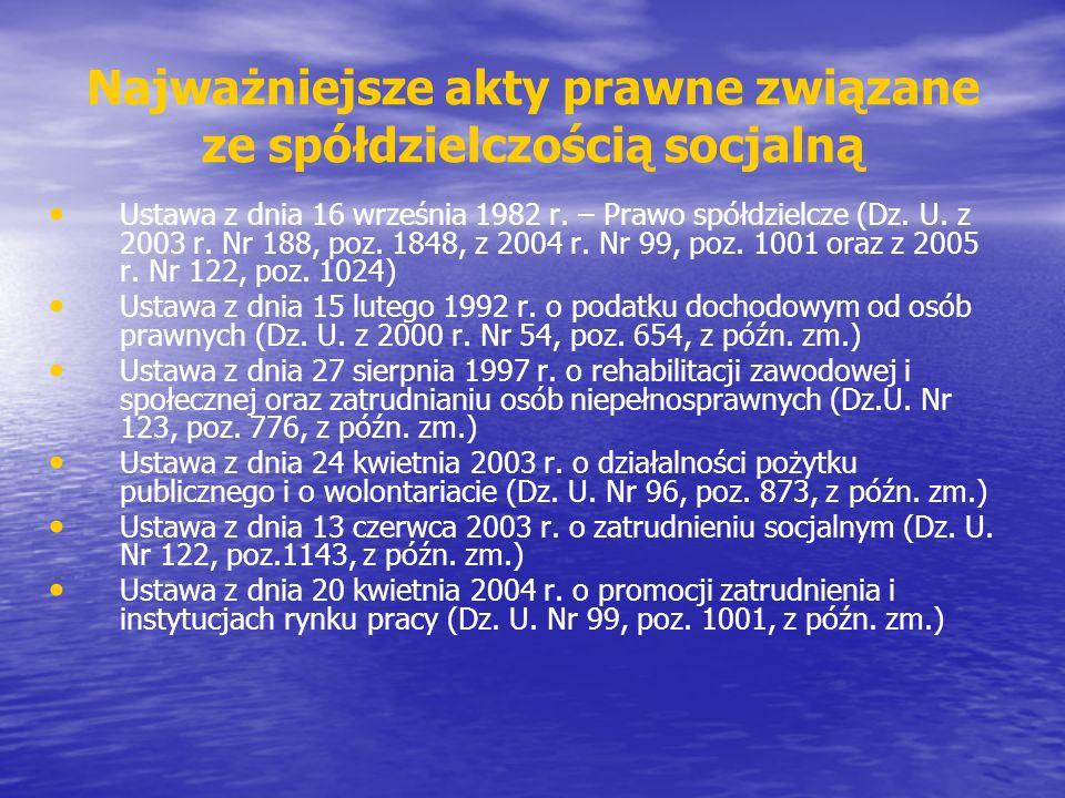 Najważniejsze akty prawne związane ze spółdzielczością socjalną