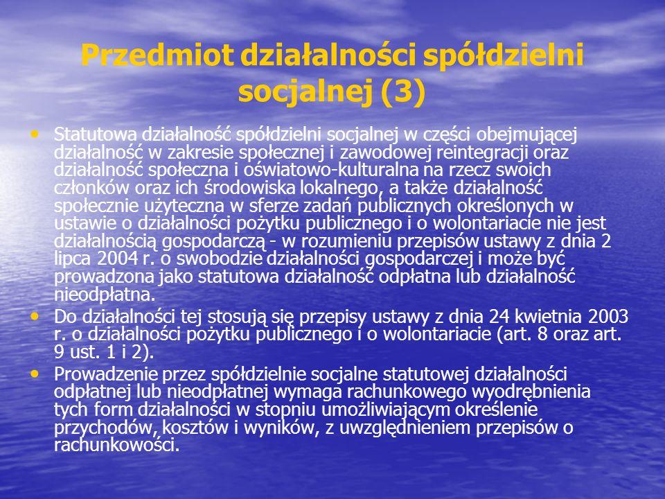 Przedmiot działalności spółdzielni socjalnej (3)