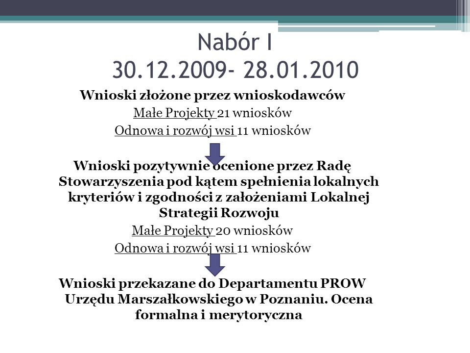 Nabór I 30.12.2009- 28.01.2010