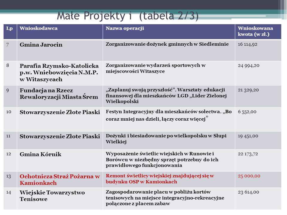 Małe Projekty i (tabela 2/3)