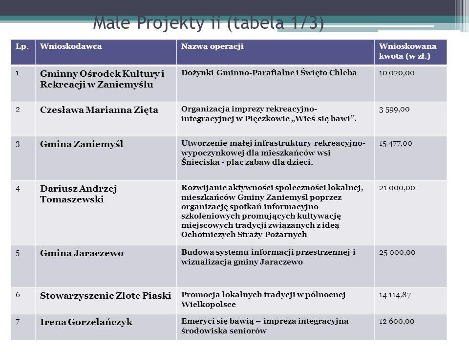 Małe Projekty ii (tabela 1/3)