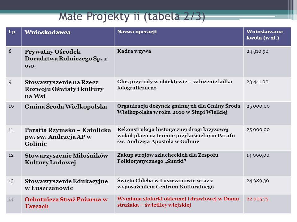 Małe Projekty ii (tabela 2/3)