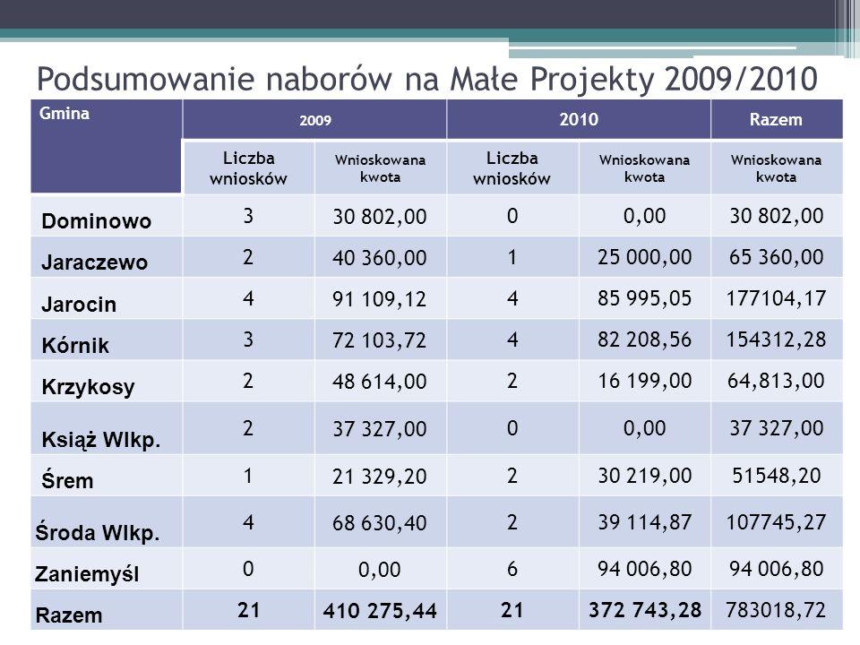 Podsumowanie naborów na Małe Projekty 2009/2010