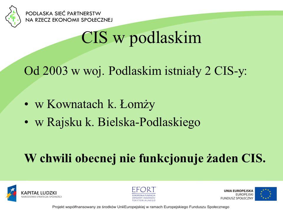 CIS w podlaskim Od 2003 w woj. Podlaskim istniały 2 CIS-y: