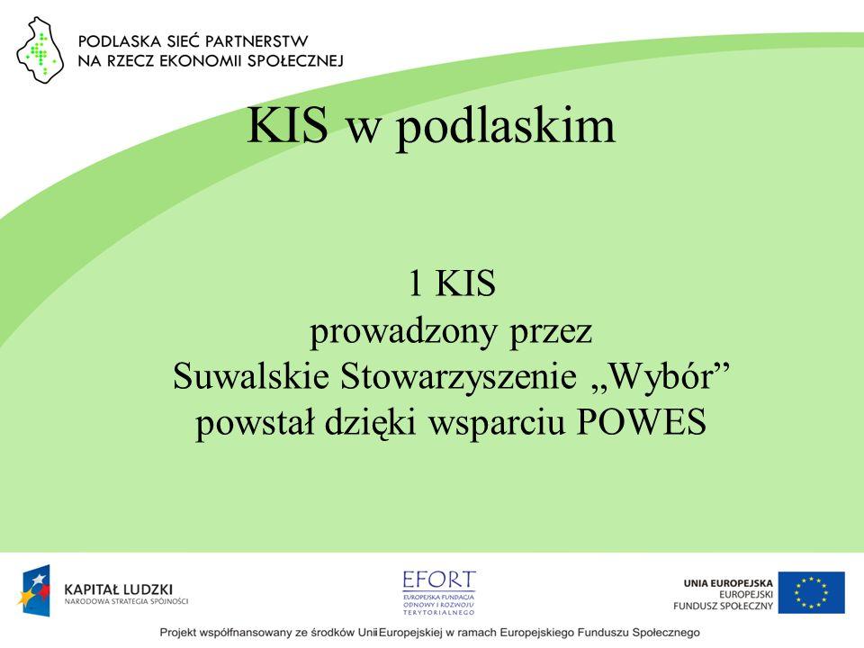 """KIS w podlaskim 1 KIS prowadzony przez Suwalskie Stowarzyszenie """"Wybór powstał dzięki wsparciu POWES."""