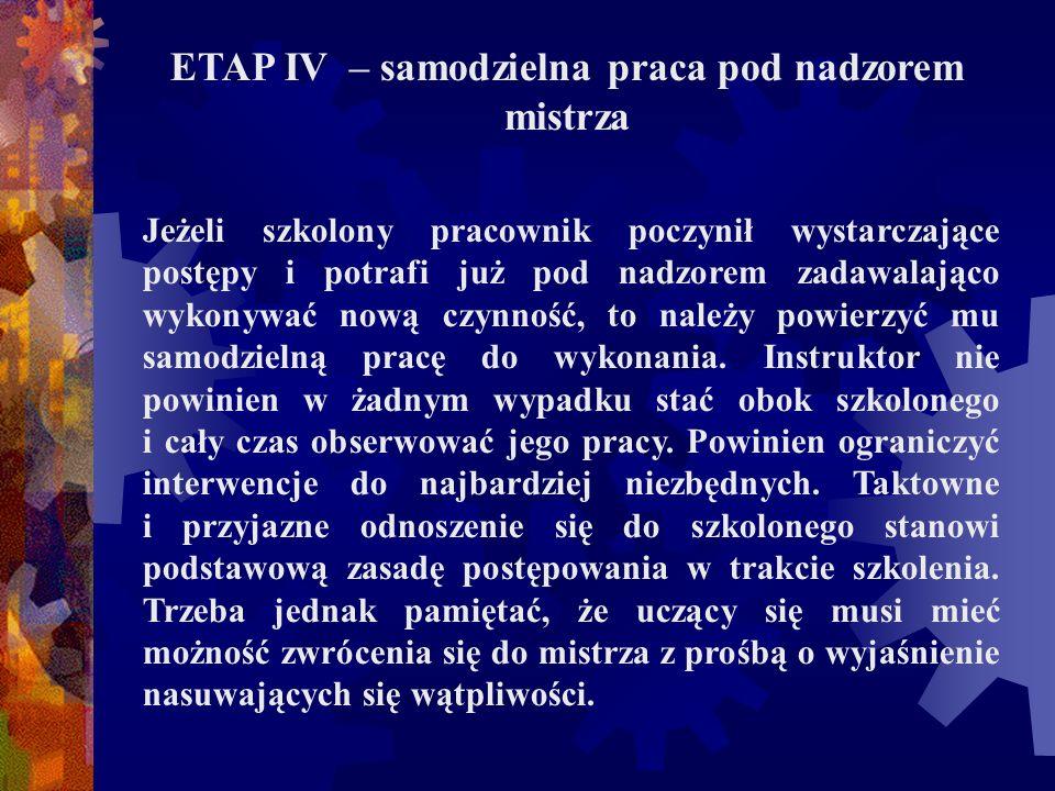 ETAP IV – samodzielna praca pod nadzorem mistrza