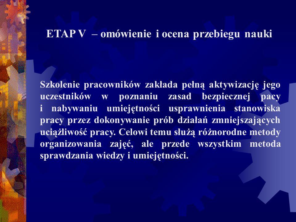 ETAP V – omówienie i ocena przebiegu nauki