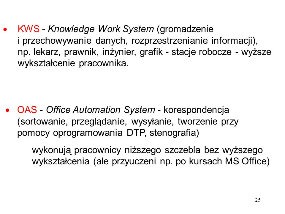 KWS - Knowledge Work System (gromadzenie i przechowywanie danych, rozprzestrzenianie informacji), np. lekarz, prawnik, inżynier, grafik - stacje robocze - wyższe wykształcenie pracownika.