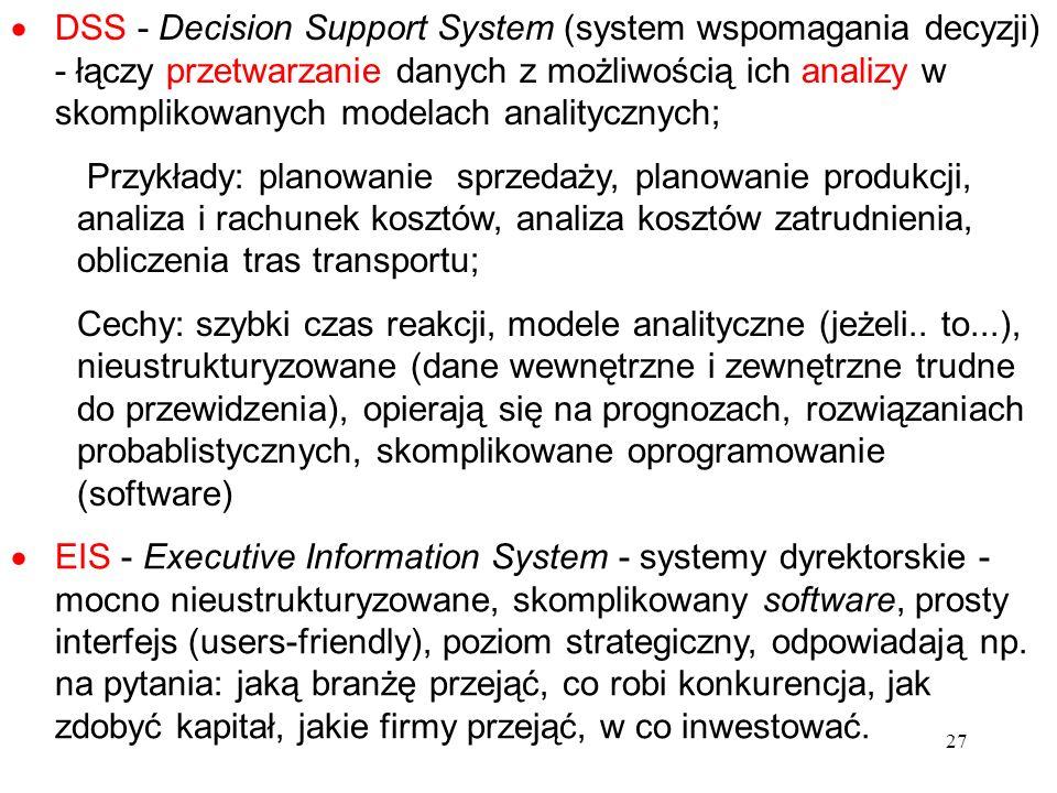 DSS - Decision Support System (system wspomagania decyzji) - łączy przetwarzanie danych z możliwością ich analizy w skomplikowanych modelach analitycznych;