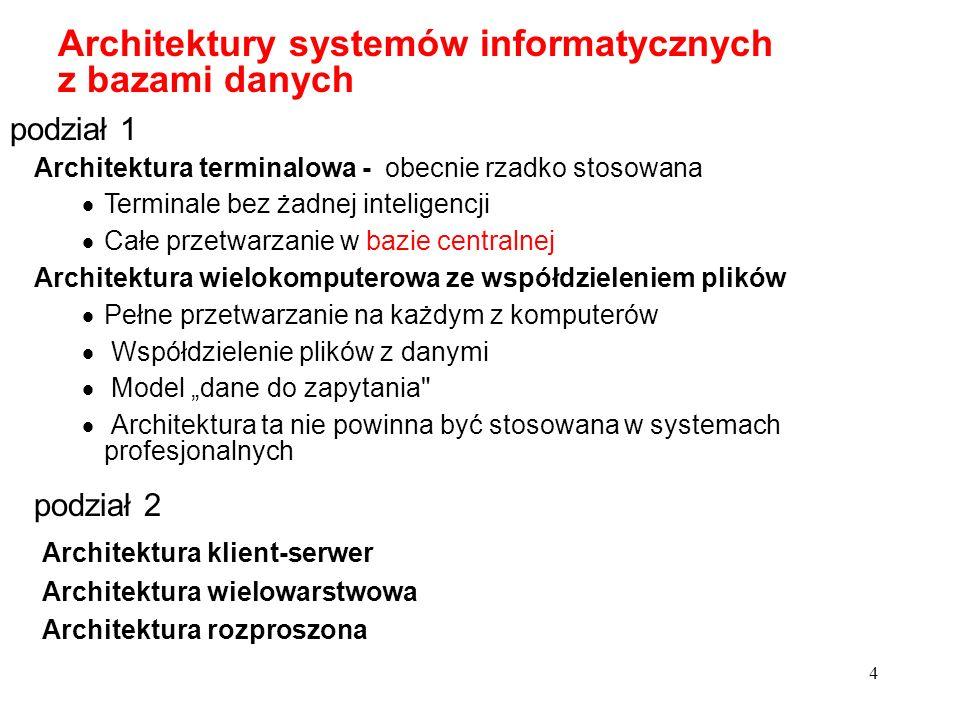 Architektury systemów informatycznych z bazami danych