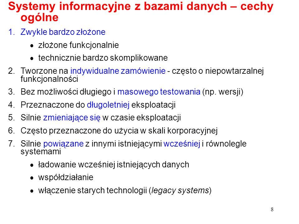 Systemy informacyjne z bazami danych – cechy ogólne