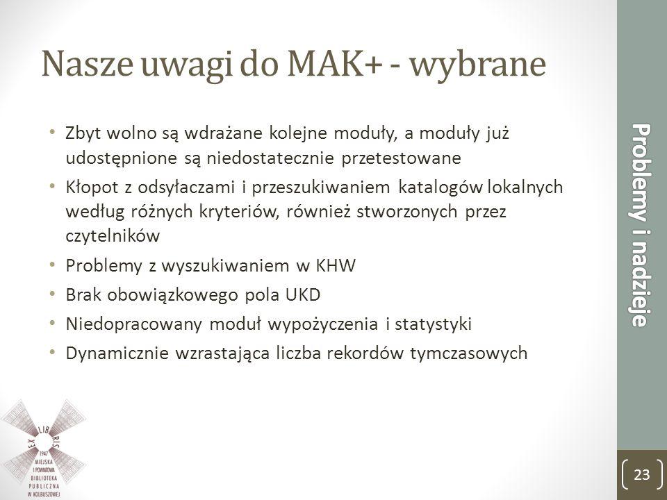 Nasze uwagi do MAK+ - wybrane