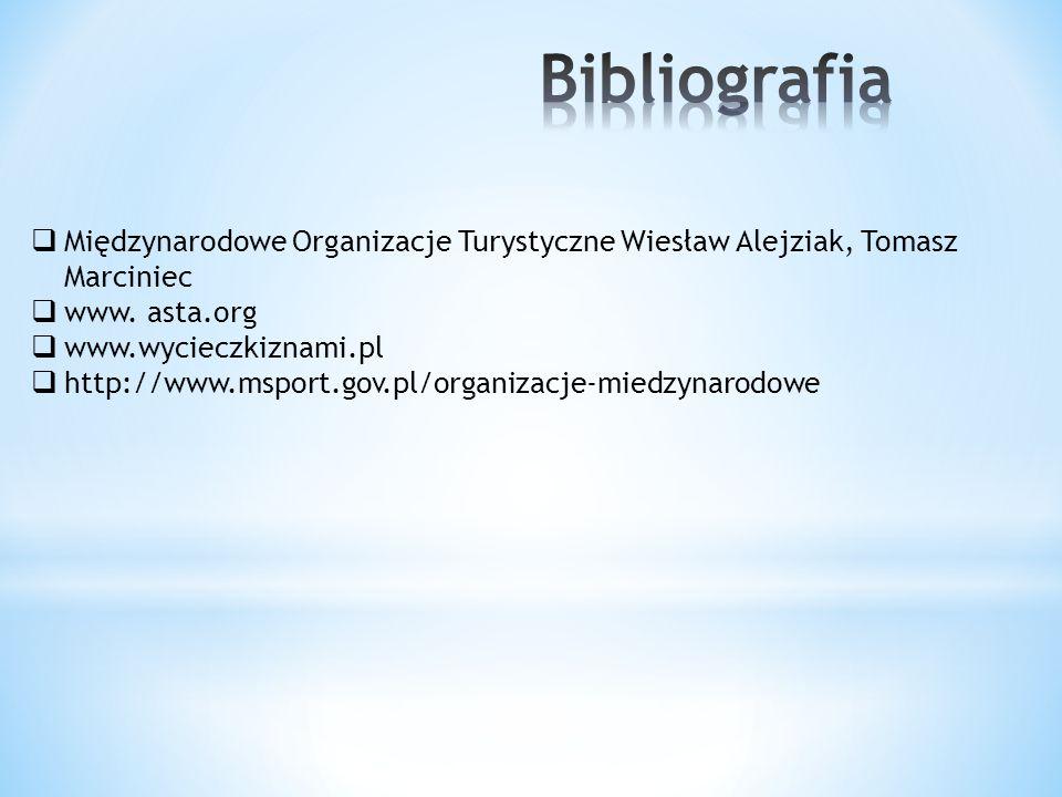 Bibliografia Międzynarodowe Organizacje Turystyczne Wiesław Alejziak, Tomasz Marciniec. www. asta.org.