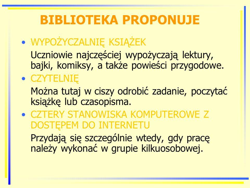 BIBLIOTEKA PROPONUJE WYPOŻYCZALNIĘ KSIĄŻEK
