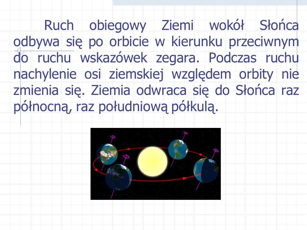 Ruch obiegowy Ziemi wokół Słońca odbywa się po orbicie w kierunku przeciwnym do ruchu wskazówek zegara.