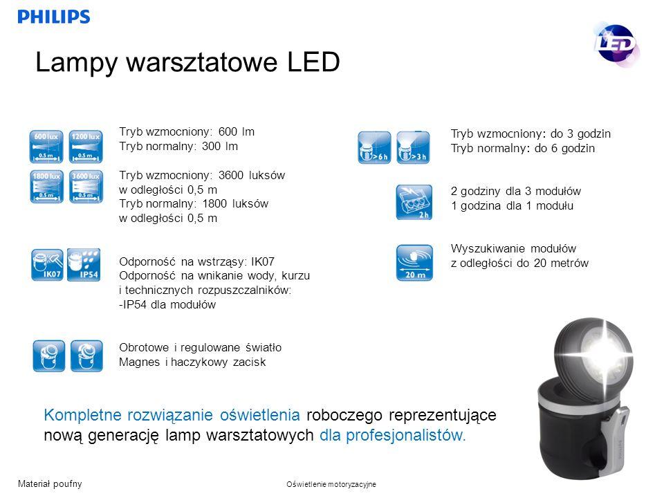 Lampy warsztatowe LED Tryb wzmocniony: 600 lm. Tryb normalny: 300 lm. Tryb wzmocniony: 3600 luksów w odległości 0,5 m.