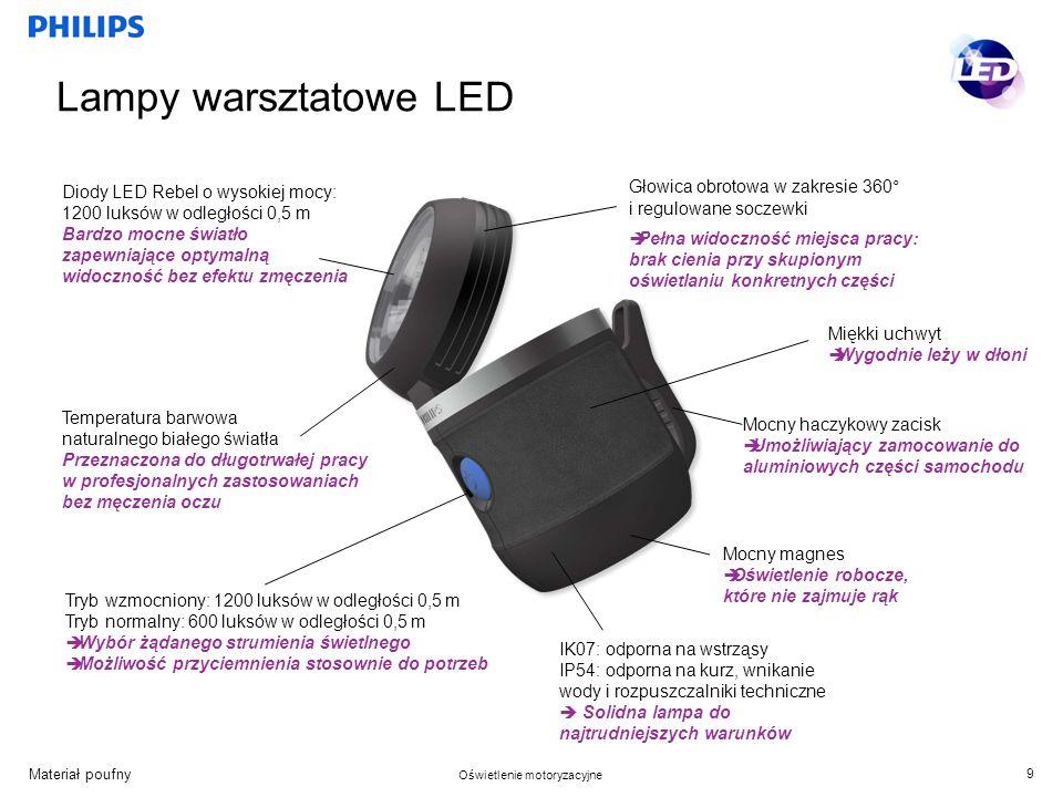 Lampy warsztatowe LED Diody LED Rebel o wysokiej mocy: 1200 luksów w odległości 0,5 m.