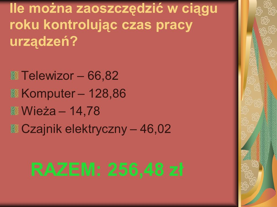 Ile można zaoszczędzić w ciągu roku kontrolując czas pracy urządzeń