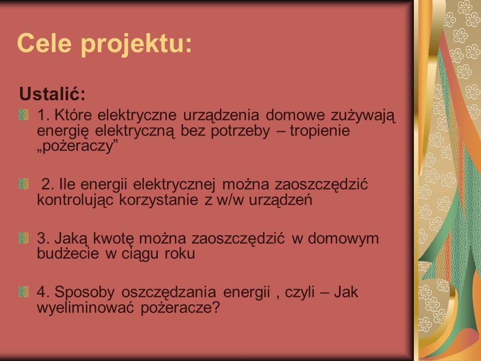 Cele projektu: Ustalić: