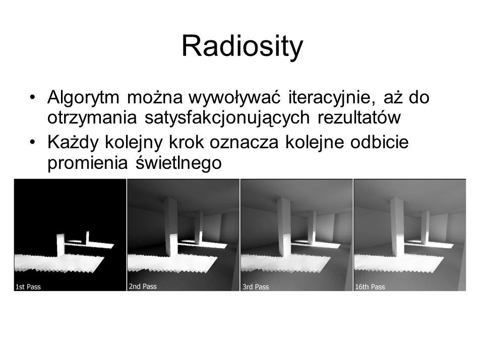 RadiosityAlgorytm można wywoływać iteracyjnie, aż do otrzymania satysfakcjonujących rezultatów.