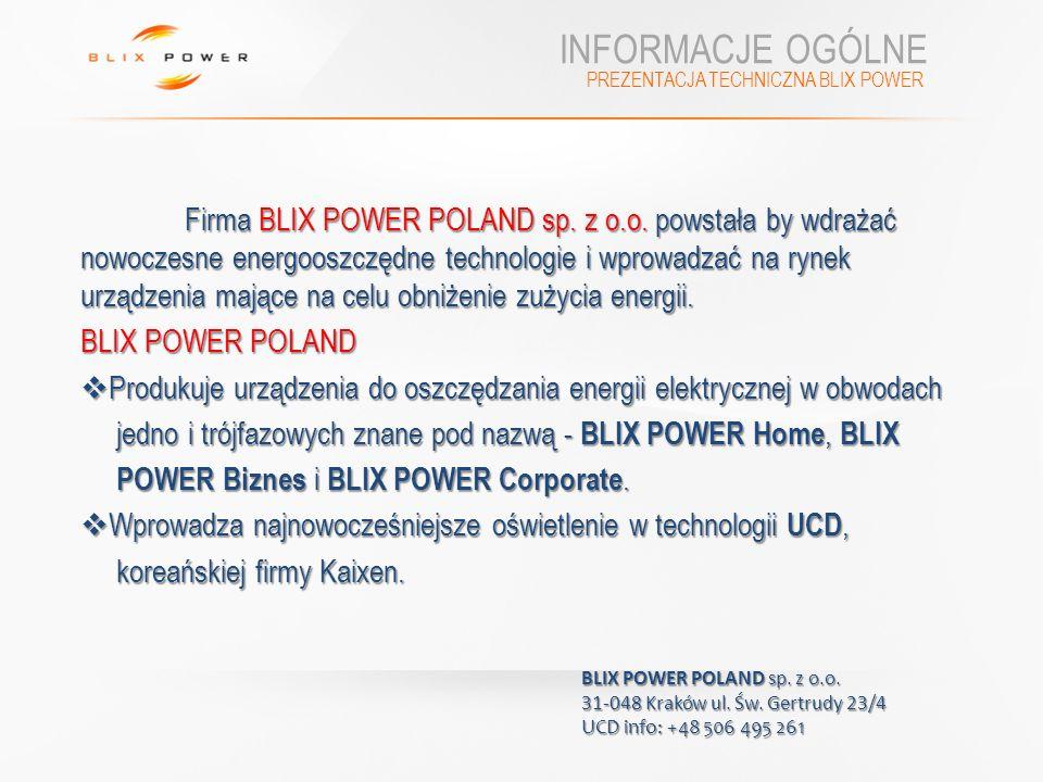 INFORMACJE OGÓLNE BLIX POWER POLAND