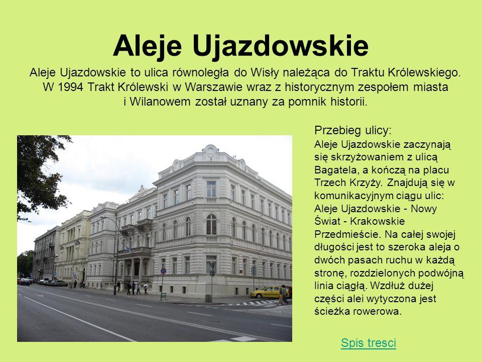 Aleje Ujazdowskie Aleje Ujazdowskie to ulica równoległa do Wisły należąca do Traktu Królewskiego.