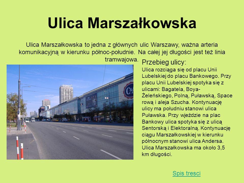 Ulica Marszałkowska Przebieg ulicy: